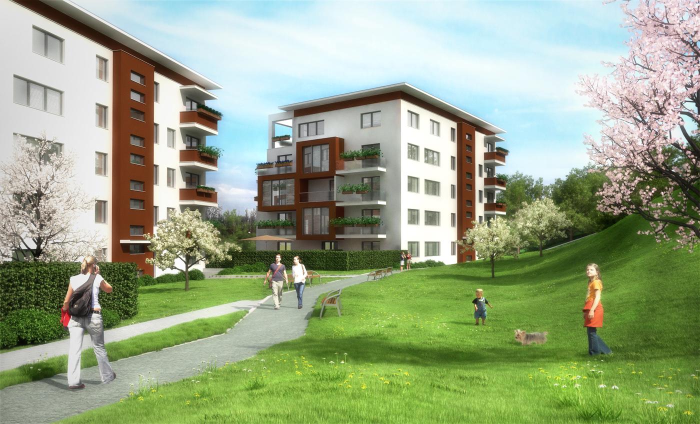 3D vizualizace exteriéru developerského projektu bytového domu Byty vparku Ostrava