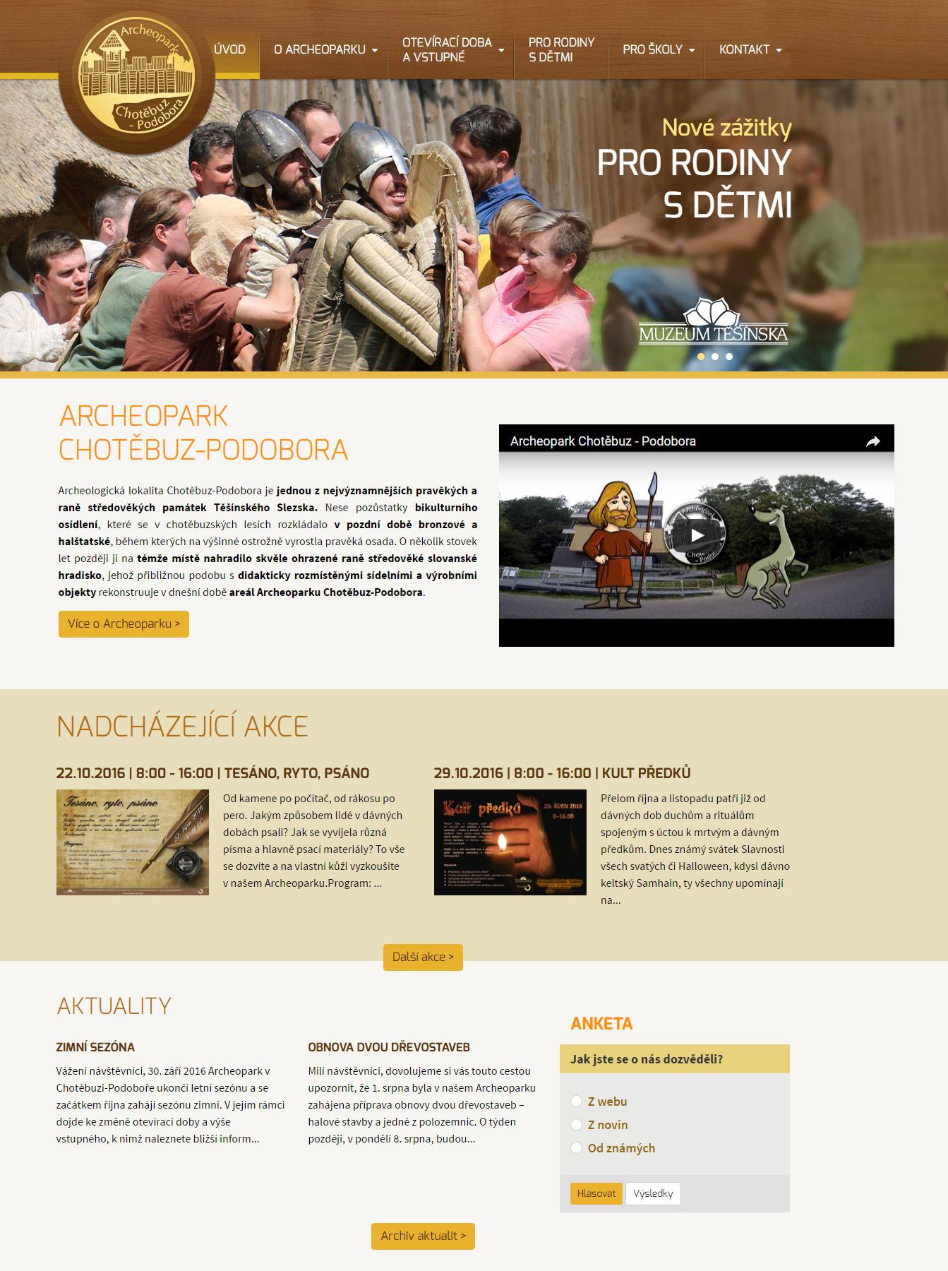 Webové stránky Archeoparku Chotěbuz-Podobora