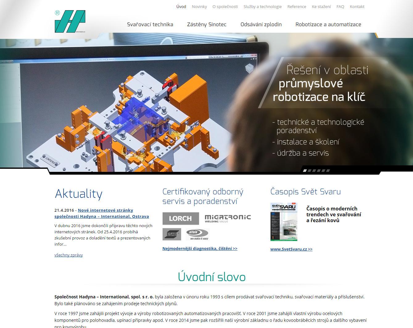 Webová prezentace firmy Hadyna