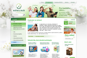 Eshop lékárny Apavar, screenshot