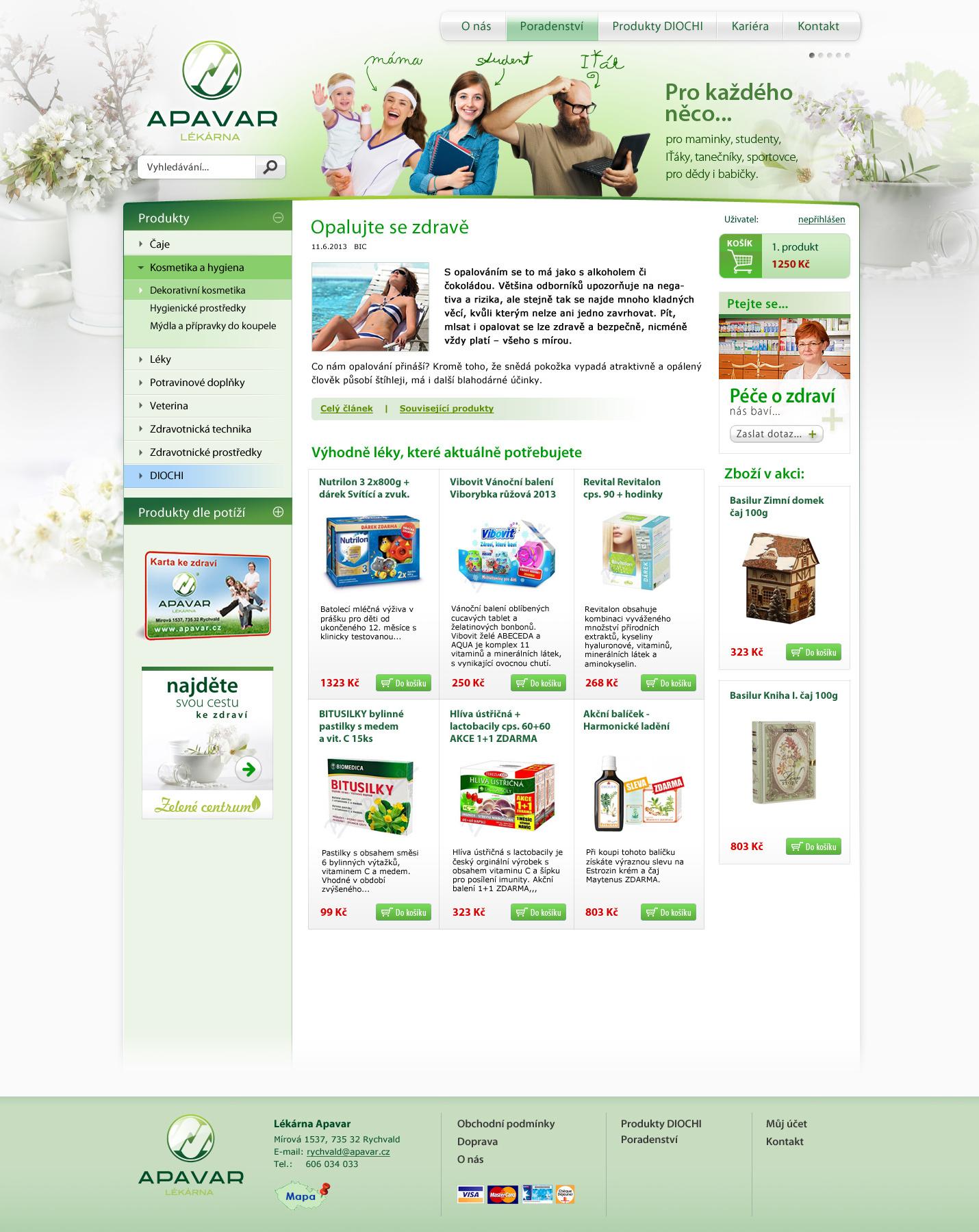 E-shop lékárny Apavar Rychvald