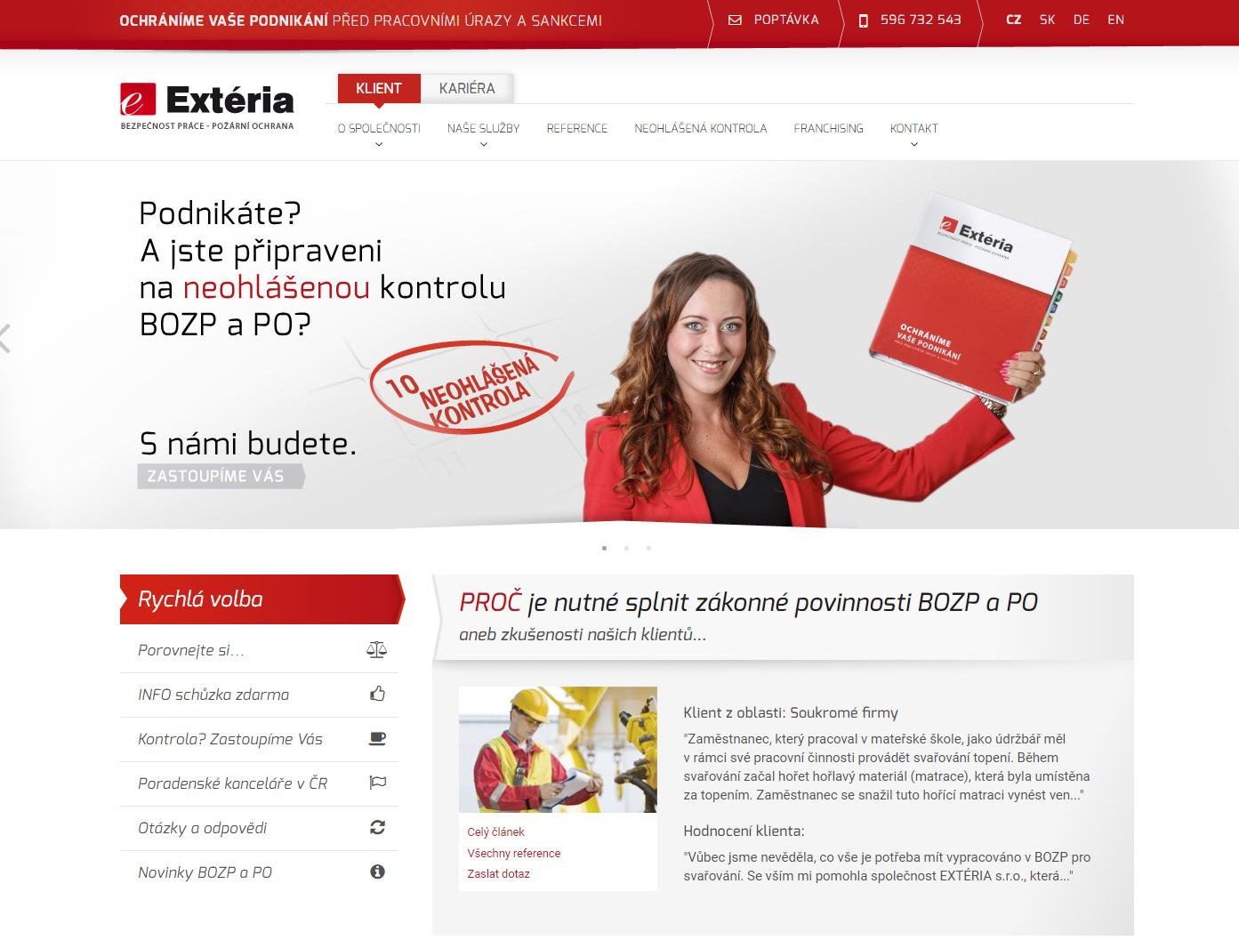 Webová prezentace EXTÉRIA