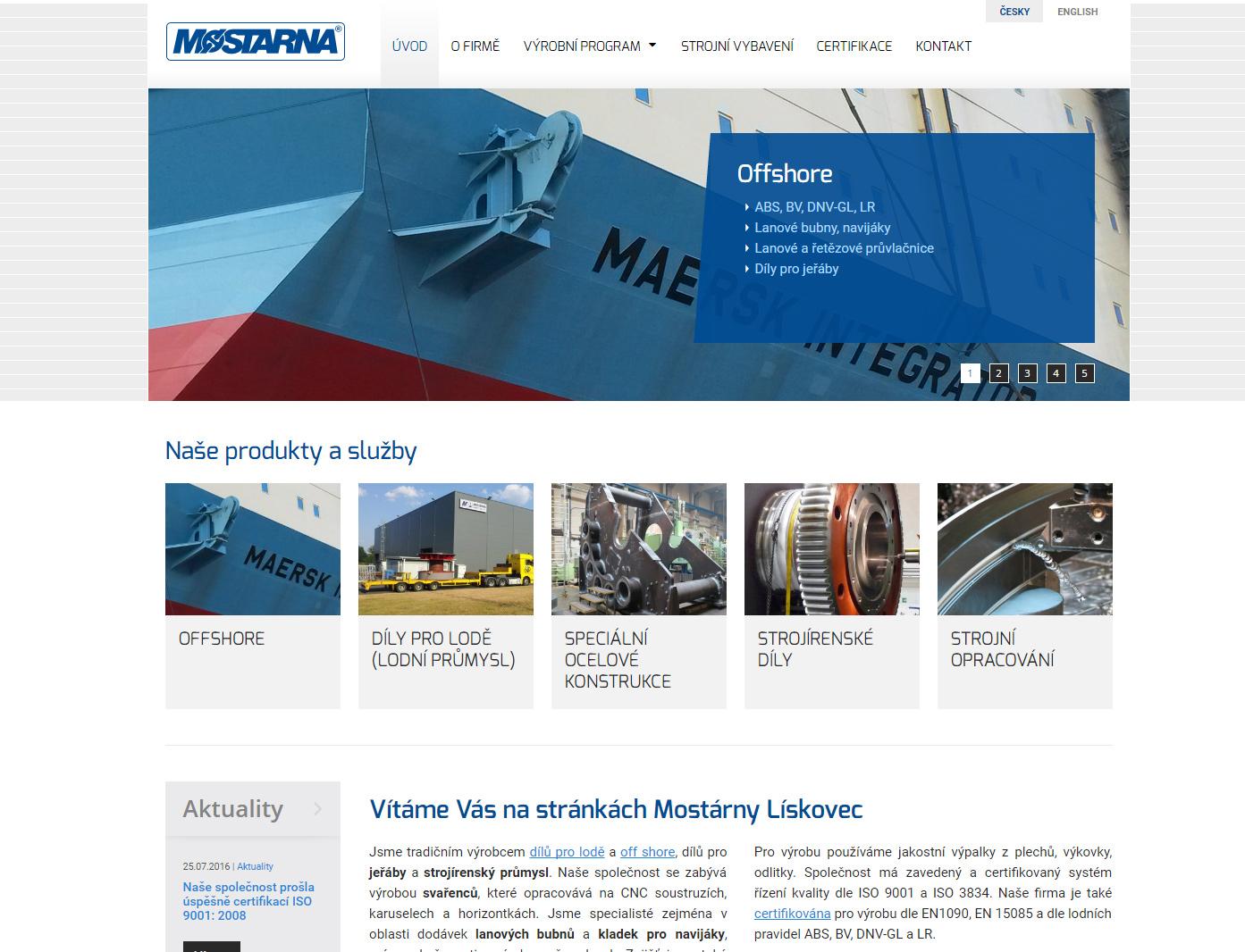 Webová prezentace Mostarna.com