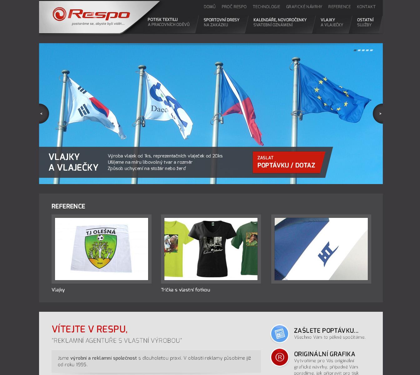 Webové stránky firmy Respo