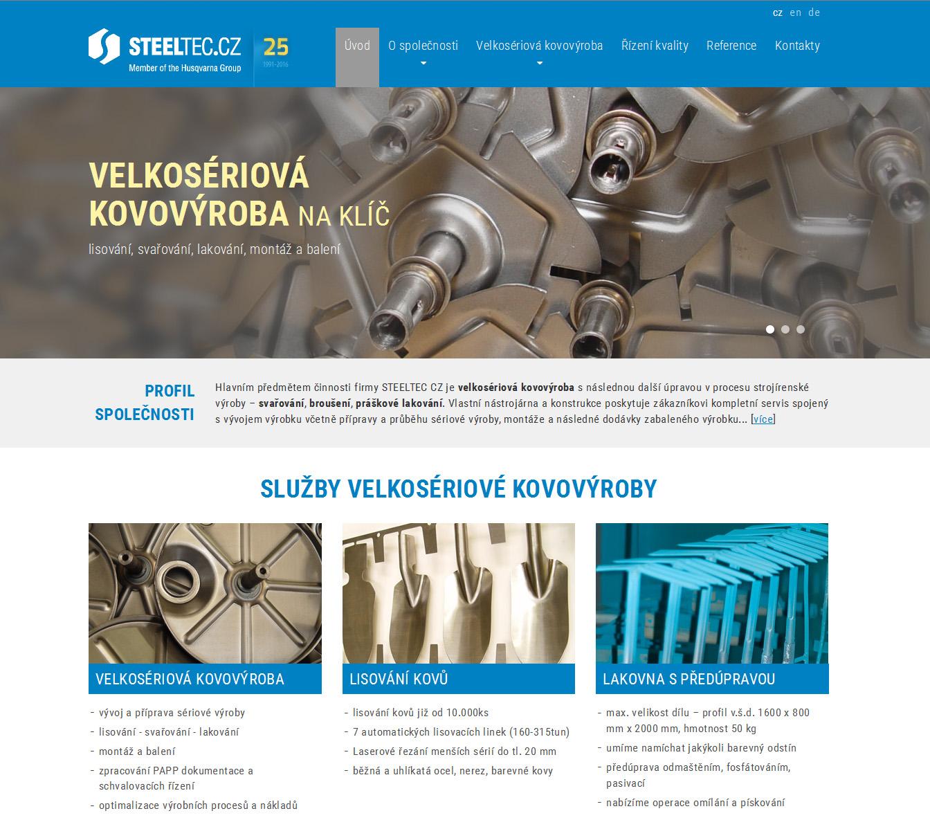 Webová prezentace Steeltec, s.r.o.
